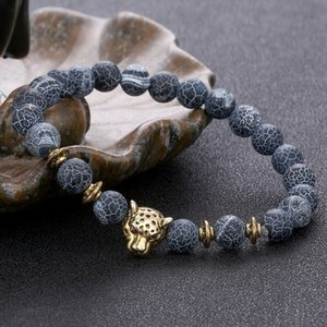 Natural stone Leopard Head Agate Bracelets Wristband new women mens fashion jewelry will and sandy gift