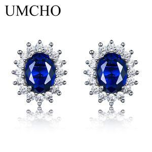 Womé için UMCHO 925 gümüş küpe 6 * 8mm düzenlendi Mavi Safir Düğün Takı Marka Güzel Takı Küpe