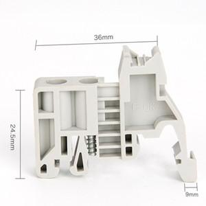 100PCS E-UK 35mm Terminale morsetto a vite Terminale morsetto fisso Blocco grigio passante Morsetto passaparete combinato
