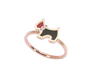 Прекрасные собаки кольцо, подарок ювелирные изделия из розового золота цвета титана стали фианитами Кольца / браслет, мода женщина ювелирные изделия, никогда не увядает