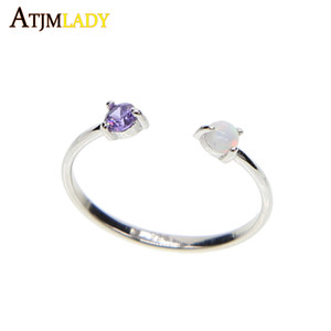 whole saleOriginal 925 Sterling SILVER purple white fire opal stone dainty delicate open sized girl women elegant simple stone ring 925