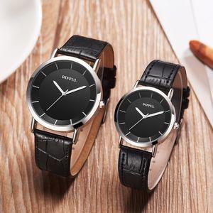 Мужская Мужская Мода Часы Мужчины Женщины Любителей Пара Часы PU Кожа Кварцевые Наручные Часы