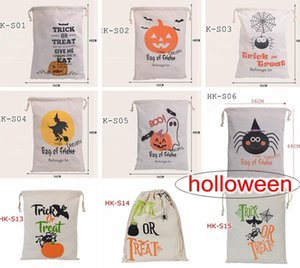Halloween Large Canvas bags Kids Drawstring Bags With Pumpkin devil spider print Hallowmas Gifts Sack 36*48cm 9styles