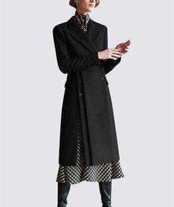 Women Wool Long Coat 2018 Elegant Ladies Fashion Double Breasted Side Split Slim Long Woolen Coat Winter Black Wine Red Outwear