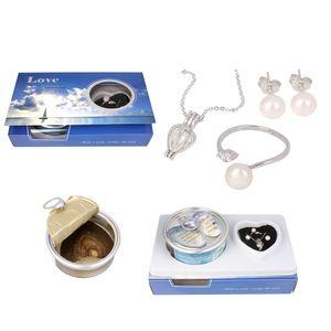 Bijoux de perles d'eau douce naturelles Ensembles sous vide Oyster Wish Pearls Pendentif Collier Doigt Bague Boucle D'oreille Pour Les Femmes Cadeau De Mariage