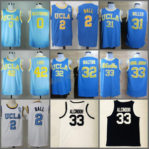 LEW Alcindor # 33 Power Memorial High School كرة السلة جيرسي اسم ستيشيد رقم أبيض أسود UCLA Bruins Mens 33 Kareem Abdul Jabbar Blue