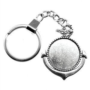 6 Pieces Key Chain Women Key Rings For Car Keychains With Charms Anchor Inner Size 25mm Round Cabochon Cameo Base Tray Bezel Blank
