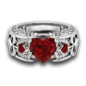Nueva Moda de Plata Naturales Birthstone Novia Wedding Engagement Heart Ring Delicada envío de la gota N-24
