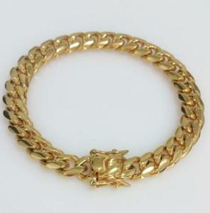 "Men 18K Yellow Gold Stainless Steel 10mm 8.5"" Miami Cuban Curb Link Bracelet"