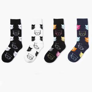 1 Düzine / 12 pairs Yeni Varış Karikatür Kedi Desen Kadın Çorap için Siyah Beyaz Rahat Pamuk Yumuşak Nefes Çorap Kadın toptan