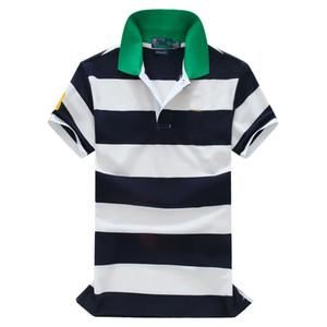 Wholesale-Free shipping!2018 Hot Sale classic fashion Striped big horse Short Sleeve Polo men's Shirt 100% Cotton,Drop shipping