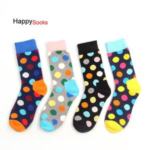 24 adet = 12 pairs Mutlu Severler Çorap Moda Yüksek Kaliteli Erkek Polka Dot Çorap erkek Moda Kişilik Rahat Pamuk Çorap Renkli Çorap