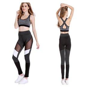 1 pc / lot pantalones de yoga de moda para mujeres cintura alta hasta el tobillo gimnasio leggings deportivos transpirable legging pantalones