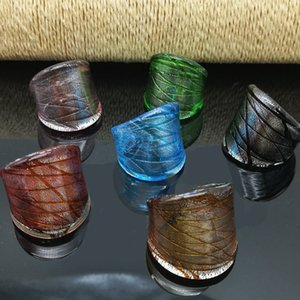 6PCS Fashion Glass Ring 17-19MM Netted Glass Ring Mix