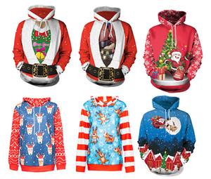 Felpa uomo / donna con stampa 3D stile Natale Felpe pullover autunno / inverno Manica lunga Felpa allentata con cappello