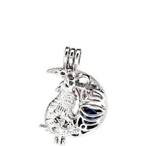 Alliage d'argent Wolf Moon Oysters Perles Cage Médaillon Pendentif Parfum d'Aromathérapie Huiles Essentielles Diffuseur