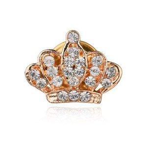 Crown Small Collar Herrenanzug Brosche Brosche Zubehör Dornschließe Hemdkragen Schnalle Kristall Blume Kragen Clip