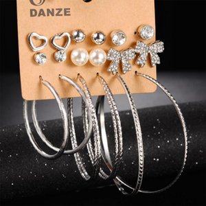Fashion earrings set rhinestone studded imitation pearl alloy hoop earring set for woman and girl free shipping