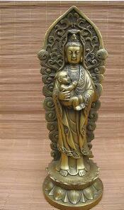 Китайский буддизм largess SongZi мальчик GuanYin латунь медь Кван-Инь статуя