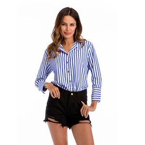 2019 female spring new single-breast shirt long sleeves shirt the blue and and white stripes shirt