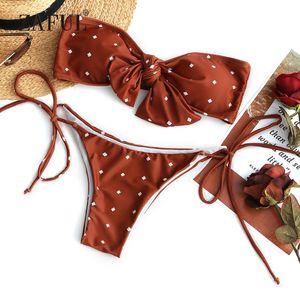 Großhandel Bikini selbst Krawatte gepunktete Bandeau Bikini Set Frauen Badeanzug Sexy Low Waisted Bademode Print trägerlosen gepolsterten Biquni Beachwear