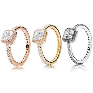 진짜 925 스털링 실버 CZ 다이아몬드 반지 로고와 함께 원래 상자 맞는 판도라 스타일 18K 골드 웨딩 링 약혼 보석 여성을위한