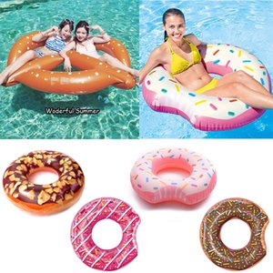 YHSBUY 107CM Giant Donut Inflatable Swimming Ring For Women Men Pool Float Adult Summer Water Party Toys Pink Chocolate boia