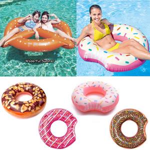 YHSBUY 107CM Donut Géant Anneau De Natation Gonflable Pour Femmes Hommes Pool Float Adulte Été Partie De L'eau de L'eau Jouets Rose Chocolat boia