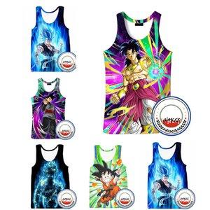 3D Débardeurs Dragon Ball Z Impression Gilet Homme Femme Réservoirs Haut de Bande Dessinée Sans Manches Chemises Super goku Unisexe Cosplay Débardeurs 18 Styles