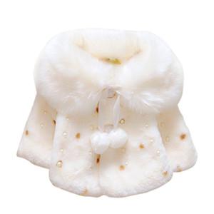 Sonbahar Kış Bebek Kız Bebek Polar Taklit Kürk Inci Boncuklu Top Pelerin Pelerin Çocuk Ceket Ceket Hırka Dış Giyim 0-3Y 2017 Yeni