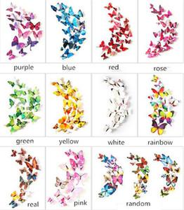 12 قطع مجموعة 3d طبقة مزدوجة فراشة الجدار ملصق على الحائط ل ديكور المنزل diy الفراشات ملصقات الثلاجة مغناطيس غرفة الديكور