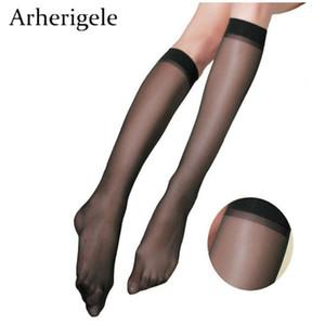 Arherigele 10pcs 5pair Calcetines de nylon de las mujeres de moda Ultrafinos Medias atractivas Sólido Transparente Sobre los calcetines de la rodilla Calcetín de seda de cristal S926