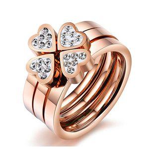 3pcs sets ring Women's Fashion Plated Rose Gold Titanium Steel Ring Love Heart Diamond Ring size 5-9#