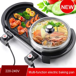 Новый многофункциональный электрический бездымный крытый Барбекю гриль барбекю плита + натирания блюдо горячий горшок для 3-5 человек 220-240 В 2000 ВТ 50 Гц
