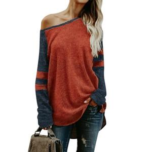NIBESSER Plus Size Sweater Mujeres Sexy Hombro Tejido Pullover Abrigo Otoño Rayas Suéter Flojo Para Mujer de Manga Larga Tops