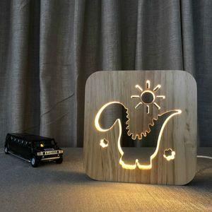Dinosaures 3D LED Lampe en bois Veilleuse, lampe USB d'alimentation Accueil Chambre Table Bureau Décoration LED bois Motif Sculpture 3D NightLight