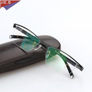 Titanium Alloy Smart Zoom Asymptotically Progressive Reading Glasses Half Rim Commercial Presbyopia Hyperopia Multifocal Glasses