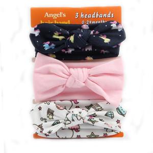 3 Pièces / lot Coton Bandeau Oreille De Lapin Pour Les Filles Noué Bow Ribbon Fleur Hairband Accessoires De Cheveux