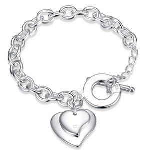 Double coeur à Bracelet plaqué argent sterling; hommes chaud vente de la mode et les femmes bracelet argent 925 SPB284