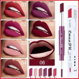 CmaaDu Crayon À Lèvres Double Tête Double En 1 Tenue Facile Couleur Naturelle 6 Couleurs Lip Line + Stick À Lèvres