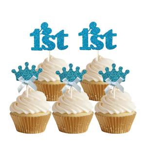 24pcs 반짝이 거품 블루 첫 번째 파란색 크라운 컵 케 잌은 Toppers 첫 번째 생일 1 년 오래 된 케이크 추천 케이크 장식