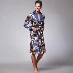 Estilo chinês masculino dragão robe de banho em casa sono desgaste de cetim de seda bordado macio solto com decote em v homens pijama camisola quimono