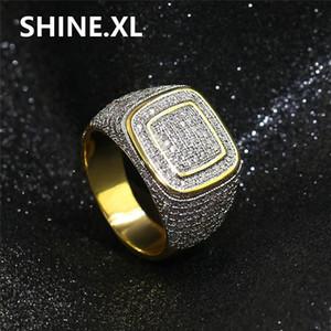 Hip Hop New Fashion Micro Pave Zircon Iced Out Bling Rame Color oro placcato maschile anello gioielli partito
