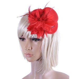 Fashion Lady's Mini Hat Hair Clip Feather Rose Top Cap Encaje fascinator Accesorio de disfraces La novia tocado Plumed Hat Envío gratis