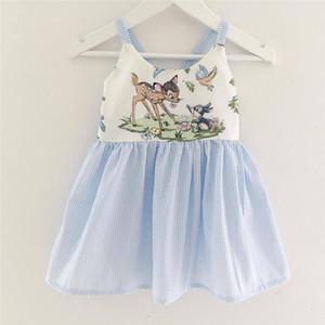 0-3 T Baby Mädchen Cartoon Animal Print Hosenträger Rock Kleinkinder niedlich beschmutzte Hirsch Muster rückenfreies Kleid in heißen Kinder Sommerkleidung