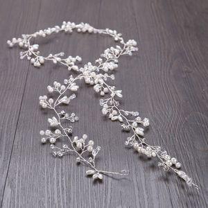 Accesorios para el cabello Fascinators 50 cm de largo Para novias Boda Plata Oro Hecho a mano Rhinestone Perla Diadema Diadema de Lujo Accesorios para el cabello