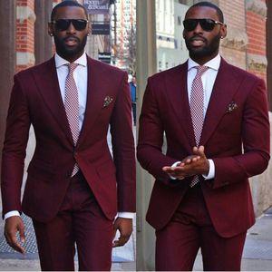 New Arrival Groom Tuxedos Two Buttons Wine Peak Lapel Groomsmen Best Man Suit Mens Wedding Suits(Jacket+Pants+Tie) NO:1185