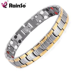 Rainso Men Jewelry Bio Energy color oro pulsera salud magnética hombres pulseras brazaletes pulseras de acero inoxidable para mujeres Y1891908