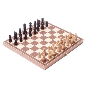 Ensemble d'échecs en bois classiques Planches Pliants Pliants Pièces en bois sculptées complexes pour adultes et enfants pour la maison et les voyages