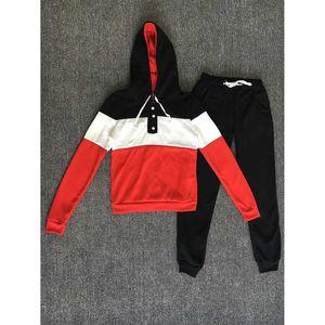 Женщины из двух частей комплект одежды осень спортивный костюм лоскутное толстовка с капюшоном с длинными штанами Jogger наряд комплект женский тренировочный костюм оптом